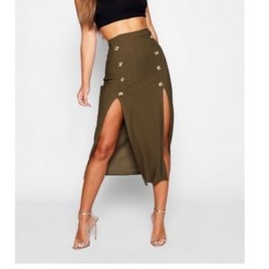 3/$30 Green split hem midi skirt